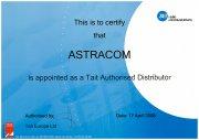 Сертификат авторизованного партнера Tait