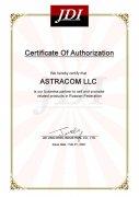 Сертификат авторизованного дилера JDI JING DENG INDUSTRIAL CO., LTD.
